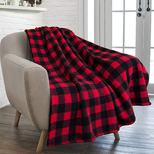 PAVILIA Buffalo Check Sherpa Throw Blanket | Black Red Checkered Plaid Fuzzy Blanket | Soft Fluffy Shaggy Microfiber Blanket for Couch Sofa | 50x60 Inches Checker Red
