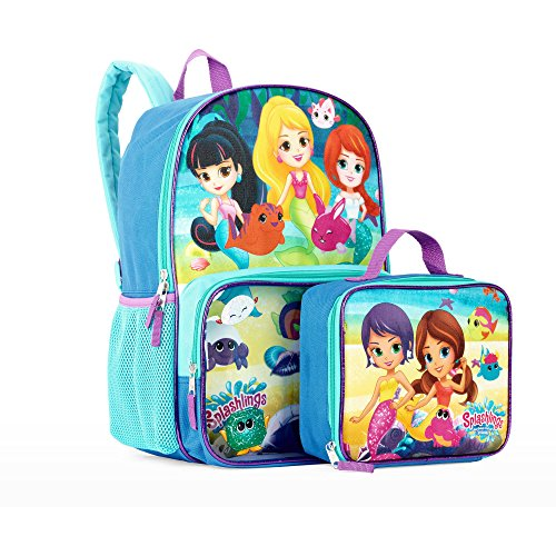 Splashlings Mermaid Backpack & Clear Pocket Insulated Lunch Bag - Kids