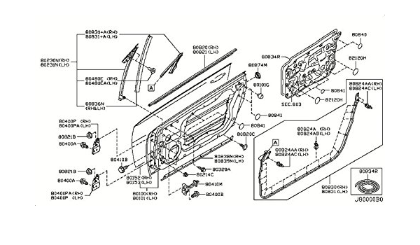 New Genuine OEM 80282AL500 Nissan Moulding-front door sash front rh 80282AL500