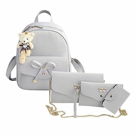Women Teen Girls PU Leather 4pcs Set Backpack Purse Shoulder Bag Handbag  Crossbody Bag Rucksack (Gray)  EINCcm d4158e3d9b29b
