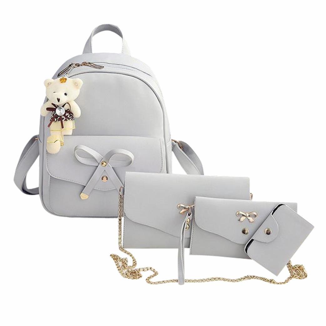 Clearance! Women Teen Girls PU Leather 4pcs Set Backpack Purse Shoulder Bag Handbag Crossbody Bag Rucksack (Gray)
