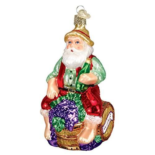 Old World Christmas Winemaker Santa Glass Blown Ornament