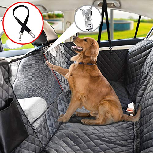 Vailge Dog Seat Cover for Back Seat, 100% Waterproof Dog Car Seat Covers with Mesh Window, Scratch Prevent Antinslip Dog…