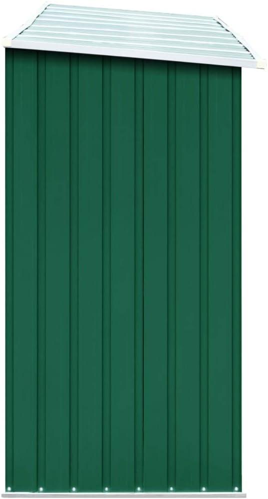 vidaXL Abri de Stockage de Bois Abri de Chauffage de Bois Abri de Jardin Rangement Ext/érieur Durable Acier Galvanis/é 330x84x152 cm Vert