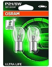 OSRAM ULTRA LIFE P21/5W halogen signal lamp, brake light, rear fog light, 7528ULT-02B, 12 V passenger car, double blister (2 units)