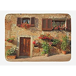 Lunarable Tuscan Bath Mat, Picturesque Lane with Mediterranean Architecture Flowers Italian Town, Plush Bathroom Decor Mat with Non Slip Backing, 29.5 W X 17.5 W Inches, Brown Pale and Brown