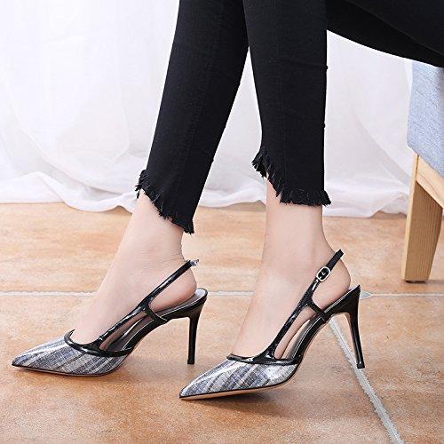Sandalias Alto RBB Medio 38 Verano Negro Fino con Aire Femenino Sexy con Baotou Zapatos Palabra de Tacón Sandalias acentuadas Hebilla qgRwnr7aq