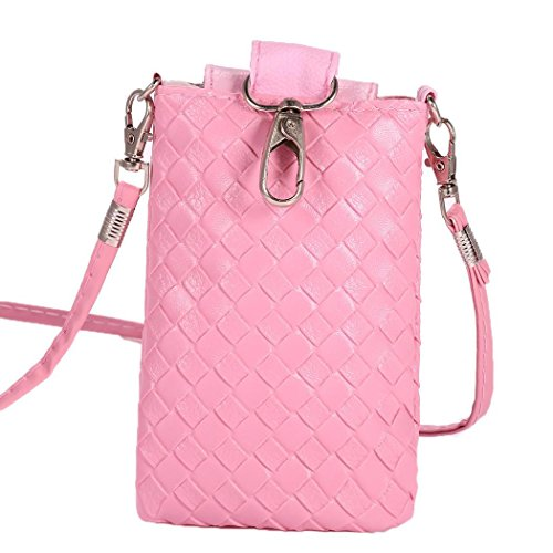 Purse Crossbody Loose Womens for Vintage Leather PU Pink Bifast Cellphone Pouch Wallet Bag Change 06Yw5