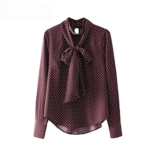 Jamemcabin Women Vintage Bow Tie Polka Dot Shirts Pleated Stand Collar Long Sleeve Blouses Ladies Casual Tops As Picture S (Nur Für Sie-shop)