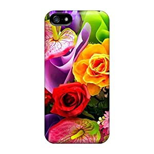 For Iphone 5/5s Premium Tpu Case Cover Colorful Bouquet Protective Case by lolosakes