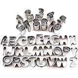 Surepromise 37 Pcs Metal Alphabet Number Letter Cake Mould Mold Decorating Cutter Tool Set Biscuit Fondant Sugarcraft Cookie Stamp Impress Embosser