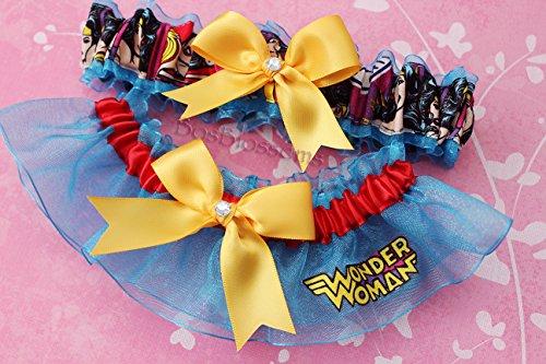 - Customizable handmade - Wonder Woman fabric on turquoise sheer organza keepsake bridal garters wedding prom garter set