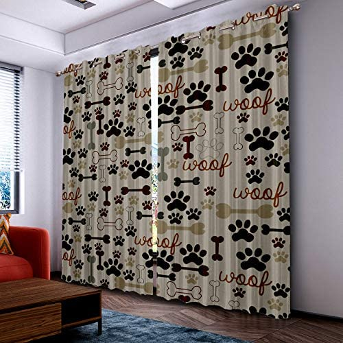 Home Decor Blackout Curtains Room Darkening Curtains, Cartoon Dog Paw Print and Bones Window Treatment Thermal Insulated Curtain for Living Room Bedroom 2 Panels Set, 52 x 96 Inch
