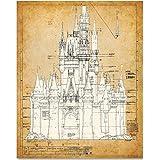 Cinderella's Castle - 11x14 Unframed Blueprint - Great Gift for Disney Fan