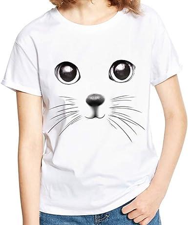 Proumy Blusa con Impresión 3D Camiseta Estampado de Animal para Mujer Camisa de Gato Tops de Cuello Redondo Vestido Sólido de Talla Grande Traje Transpirable Nuevo de Verano: Amazon.es: Ropa y accesorios