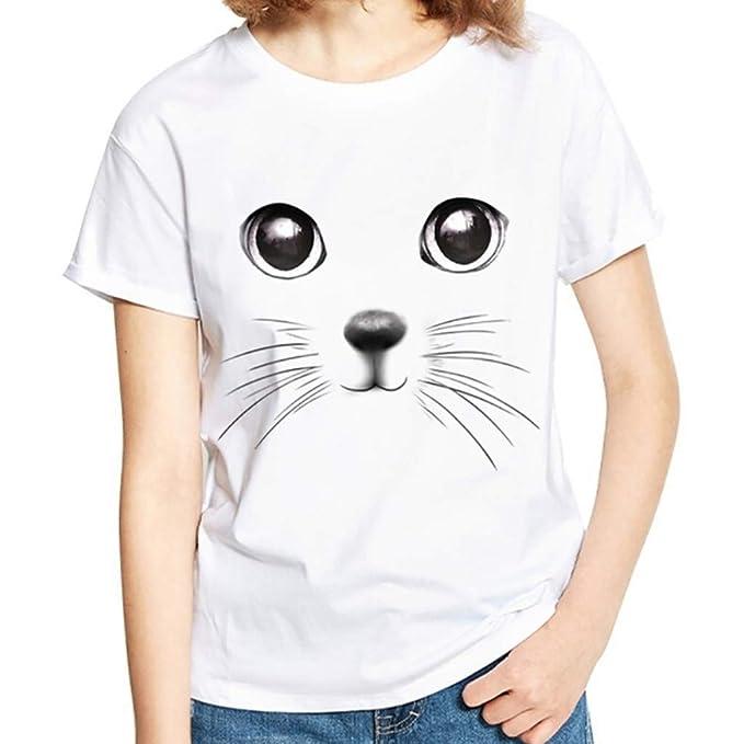 Susen Camisetas Mujer Lindo Gato 3D Imprimir Camiseta Mujer Increibles De Contraste Cuello Redondo Blusa Mujer Negra Manga Corta Imprimiendo Blusas Mujer ...