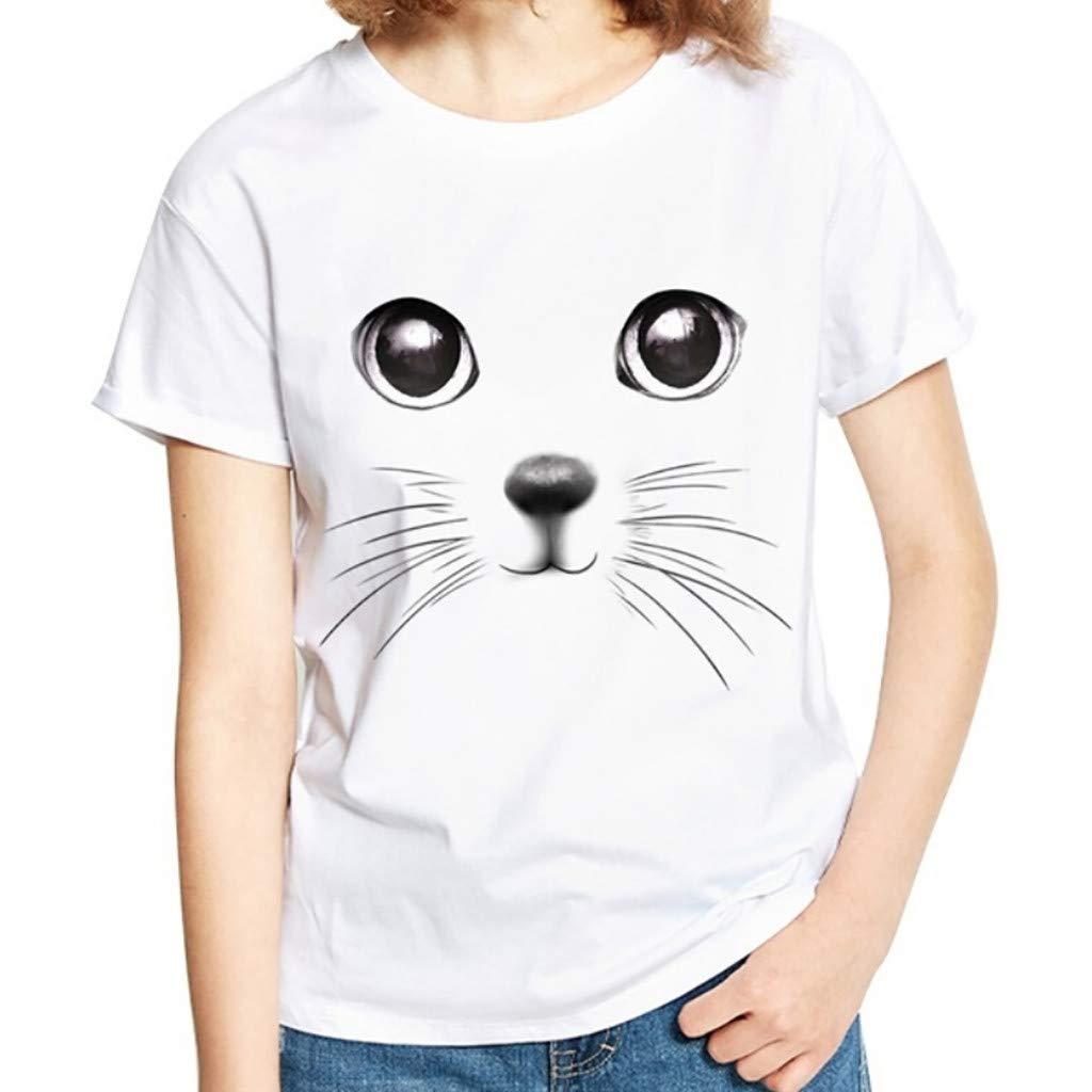 Womens Shirts Shirt Tops Lady Big Code 3D Print Animal Summer Short Sleeve White