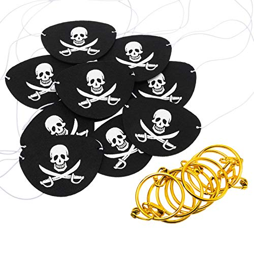Tatuo Pirate Party Supplies with Felt Pirate Eye Patches and Pirate Earrings Pirate Accessories for Halloween (24 Pieces)