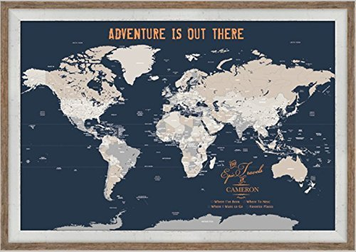 Amazon push pin map 20x30 inches framed world map paper gift push pin map 20x30 inches framed world map paper gift for solo traveler gumiabroncs Images