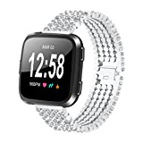 AutumnFall 2018 New Style Replacement Crystal Alloy Wristband Band Strap Bracelet For Fitbit Versa Smart Watch,22mm Band Length: About 160MM (Silver)