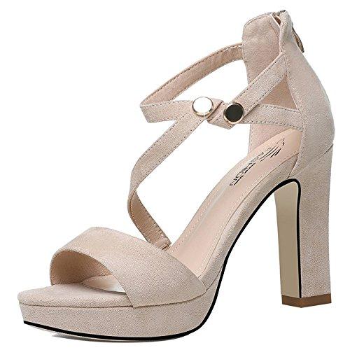 Jqdyl Tacones Las Nuevas Sandalias de Verano Palabra Hebilla Impermeable Grueso con Zapatos de Tacón Alto Zapatos de Mujer Beige