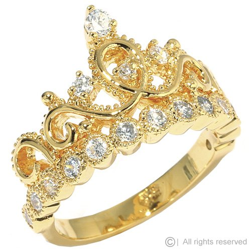 Sterling Silver Crown Ring / Princess Ring (Yellow Gold Plated)