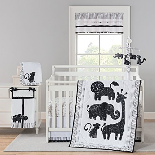 Laugh Giggle & Smile Silhouette Jungle 4 Piece Crib Bedding Set ()
