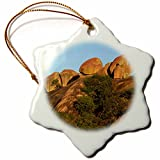 3dRose orn_187990_1 Rock Formations, Big Cave Camp, Matopos Hills, Zimbabwe, Africa Snowflake Porcelain Ornament, 3''