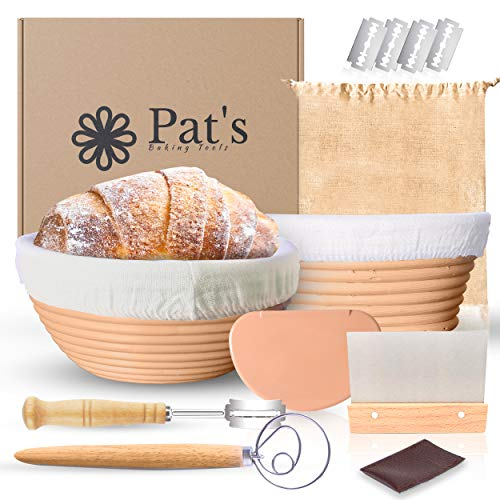 Pat's Banneton Bread Proofing Basket 2 Pack kit | 8 Inch Round + 8 Inch Oval | Sourdough Bread Bowl Baskets set
