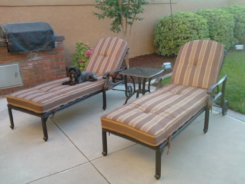 - Heritage Outdoor Living Flamingo Cast Aluminum 3pc Outdoor Patio Chaise Lounge Set with 21
