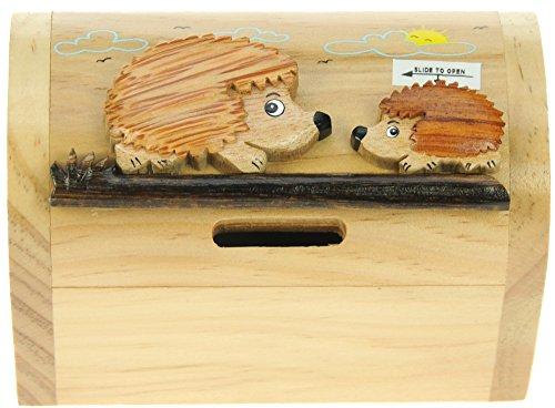 Igel : Spardose mit Geheim Lock: Handcrafted Holz: Top Weihnachten und Geburtstag Geschenk-Idee: Qualität traditionelle Weihnachtsgeschenk für Jungen, für Mädchen, für ihn, für sie, für Kinder & For Fun Liebend Erwachsene! (Größe 17x13x5cm)