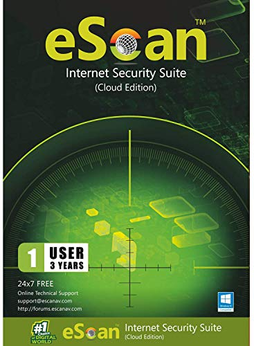 eScan Internet Security Suite with Cloud Security Total Antivirus software 2019 safe web browsing Proactive Protection Monitors Kids' online activity | 1 Device 3 Years | [PC/Laptops]
