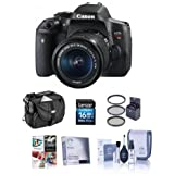 Canon EOS Rebel T6i DSLR Camera with EF-S 18-55mm f/3.5-5.6 IS STM Lens Bundle with Camera Case, 16GB Class 10 SDHC Card, 58mm Filter Kit (UV/CPL/ND2), Screen Protector, Cleaning Kit, Software Package