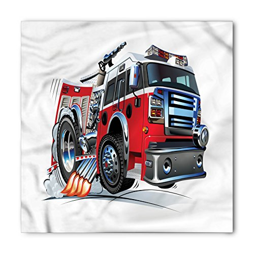 Lunarable Unisex Bandana, Fire Truck Powerful Engine Vehicle, Red Grey