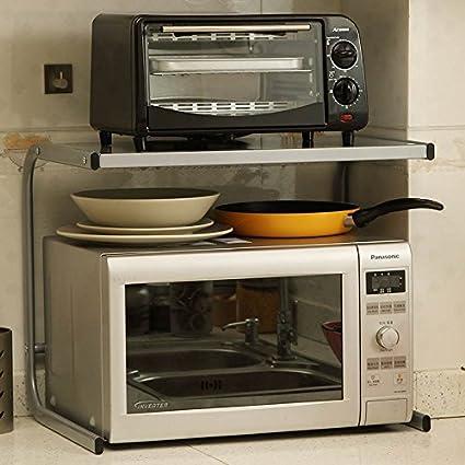 Estantes de altura creativo utensilios de cocina estante del pote parrilla horno eléctrico microondas acabado estantería