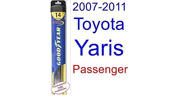 2007 - 2011 Toyota Yaris hoja de limpiaparabrisas de repuesto Set/Kit (Goodyear limpiaparabrisas blades-hybrid) (2008,2009,2010): Amazon.es: Coche y moto