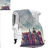 RenteriaDecor Fantasy Super Soft Blanket City Old Books Birds Oversized Travel Throw Cover