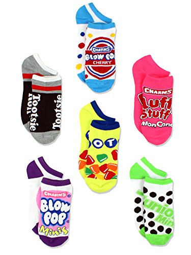 Cute Halloween Cartoon Characters (Topps Charms Candy Tootsie Roll Womens 6 pack Socks (9-11 Womens (Shoe: 4-10), Multicolor No)