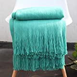 LAGHCAT Solid Blanket Cross Woven Couch Throw Christmas Knitted Blankets with Decorative Fringe Lightweight for Bed or Sofa Decorative,51'' x 67'', Light Aqua