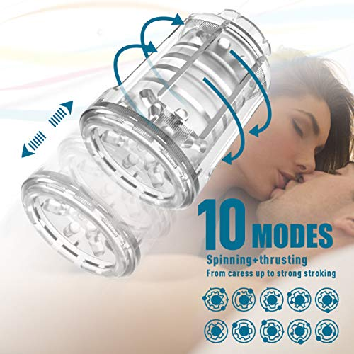 Male Masturbator-10 Rotating,Trusting Models,3 Moans Interaction 3 in 1 Adjustable Hands-Free Automatic Men Masturbation Cup Stroker Toys with Visible 3D Textured Sleeve by Allovers (Image #4)