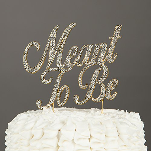 Meant To Be Wedding Cake Topper, Gold Rhinestone Decoration (Meant to Be - Gold)