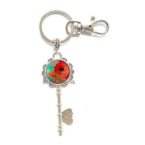 Amazon.com: Llavero de flor de amapola con llavero, llavero ...