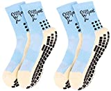 DHSport Anti Slip Sock Non Skid Socks Sports, Home, Yoga & Hospital Socks with Grips forLovers Adults Men Women 2 Pairs 2 Colors (Light Blue & Royal Blue)