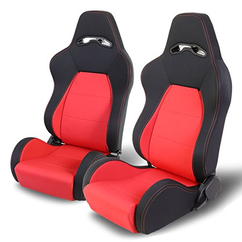 (Woven Fabric Cloth Adjustable Sports Style Black Trim & Red Stitch Racing Seats (Driver and Passenger Side))