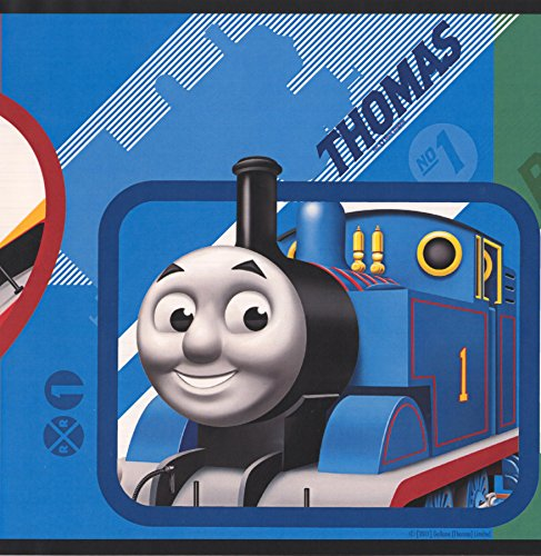 Thomas and Friends Trains Wallpaper Border for Kids Playroom Bedroom, Roll 15' x 9.25'' (Train Border Wallpaper)
