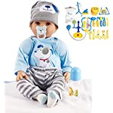 Reborn Baby Dolls Boy Lifelike Newborn - Soft Silicone Vinyl Dolls Weighted Body Partner Toy Cute 22 Inch with Accessories