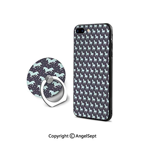iPhone 8 Case/iPhone 7 Case with Ring Holder Kickstand,Galloping Unicorn Silhouettes in Space Soft Starred Background Fantastic Decorative,Cushion Protective Cute Case,Mint Dark Taupe Pink