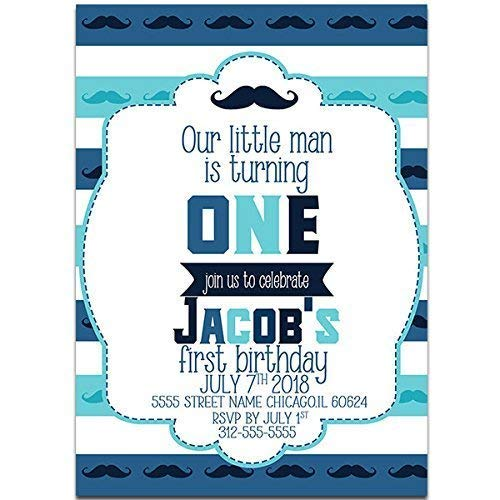 Blue Mustache First Birthday Party Invitations
