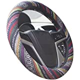Istn 2018 Large Ethnic Style Coarse Flax Cloth Automotive Steering Wheel Cover Anti Slip and Sweat Absorption Auto Car Wrap Cover (15.25''-16'', B)