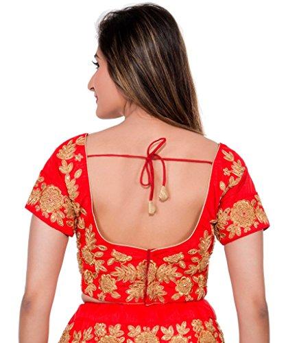 Milonee Femmes Designer Non cousue Lehenga Choli Ensemble Mariage Fête la usure Rouge